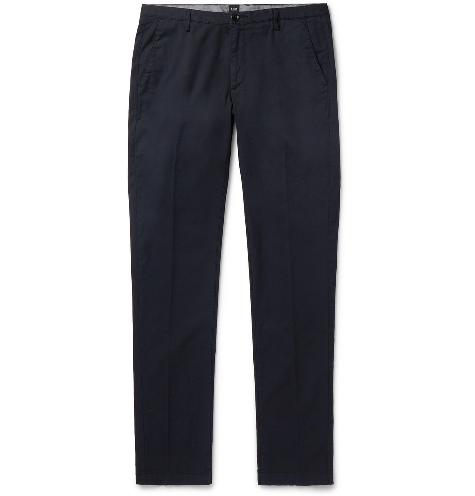 Hugo Boss Navy Slim-Fit Garment-Dyed Stretch-Cotton Twill Chinos