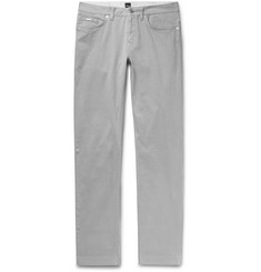 Hugo Boss Light-Grey Slim-Fit Stretch-Cotton Trousers