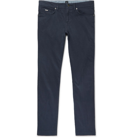 bd8080f85 Hugo Boss - Navy Slim-Fit Garment-Dyed Stretch-Cotton Trousers