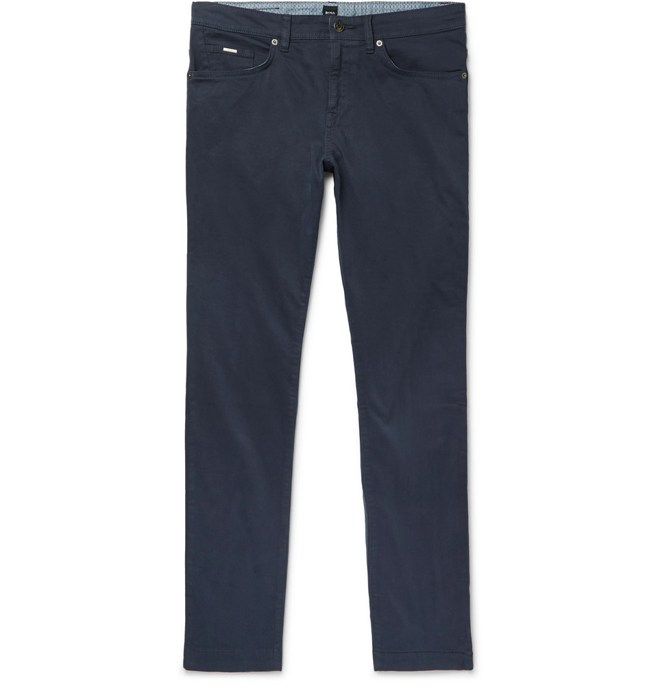 Hugo Boss Navy Slim-Fit Garment-Dyed Stretch-Cotton Trousers