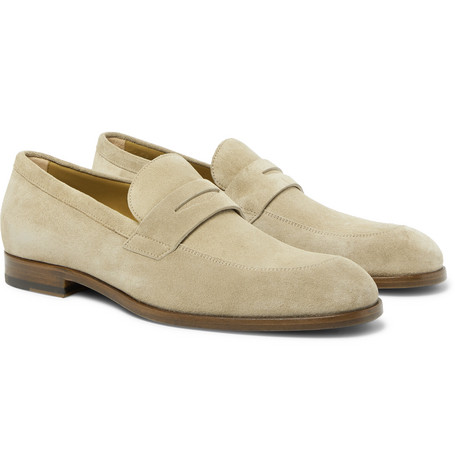 Brighton Suede Penny Loafers - Sand