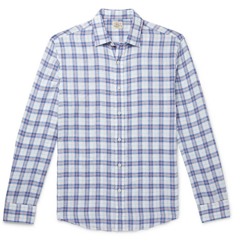 Faherty T-shirts CHECKED LINEN SHIRT