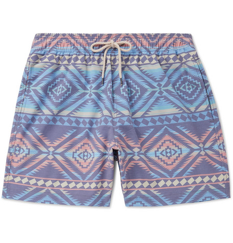 b74eeb648a93a Faherty - Beacon Wide-Leg Mid-Length Printed Swim Shorts