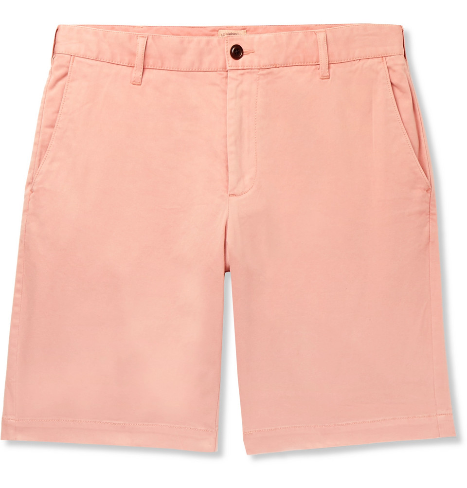 Stretch-cotton Shorts - Coral