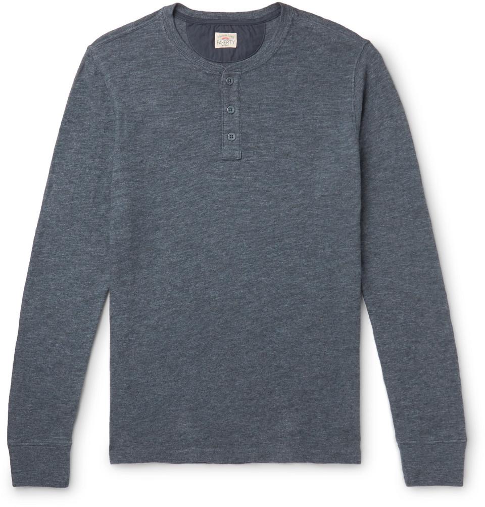 Slim-fit Slub Cotton-jersey Henley T-shirt - Navy