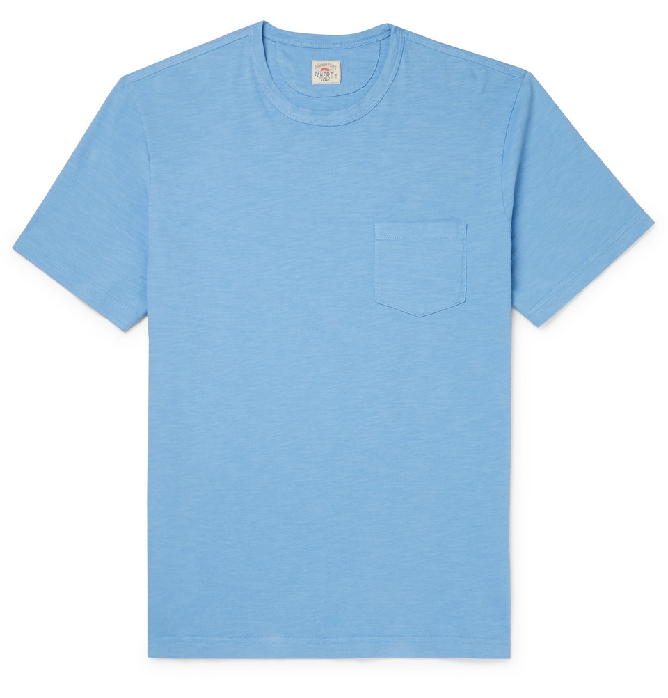 Slub Cotton-jersey T-shirt - Blue