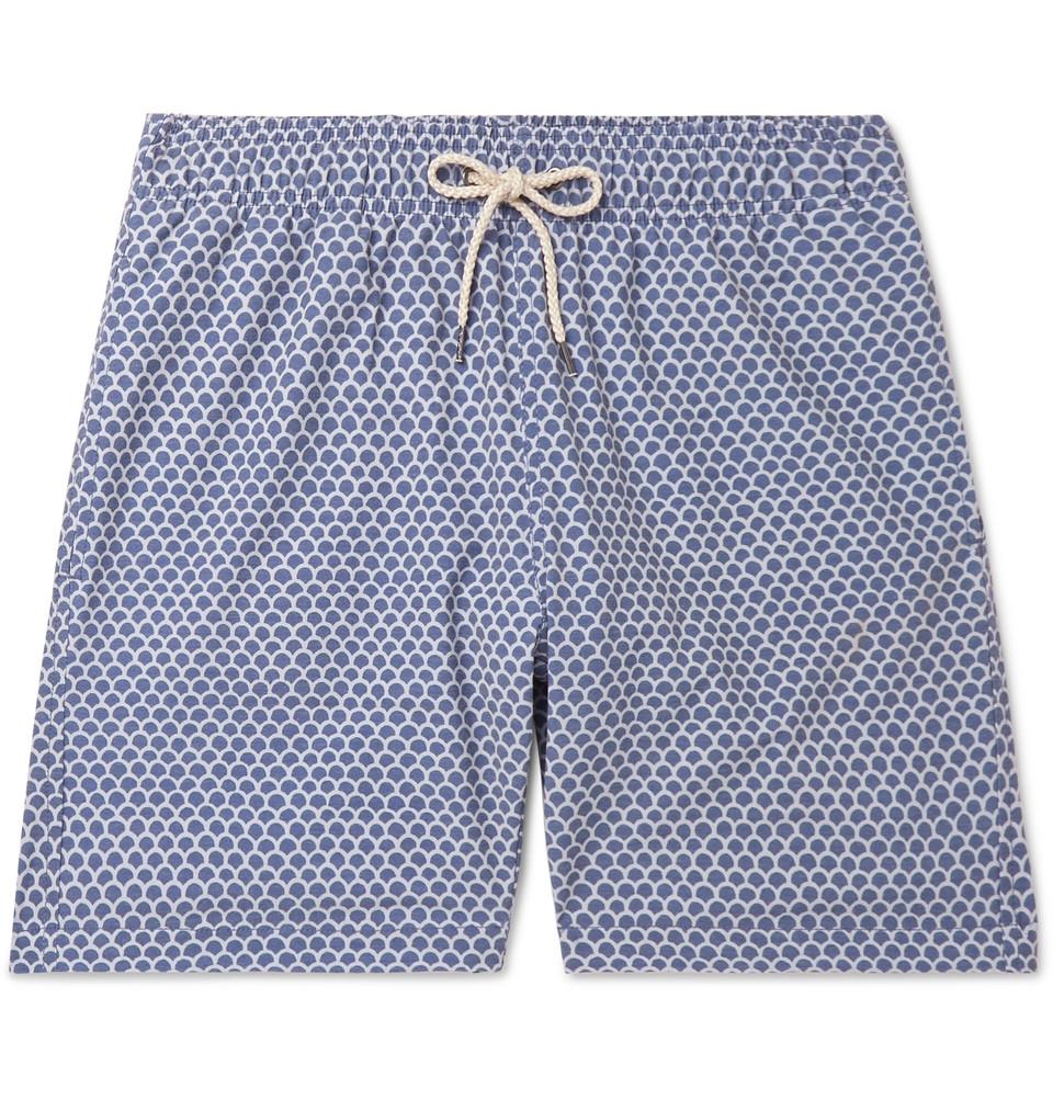 Slim-fit Long-length Printed Swim Shorts - Blue