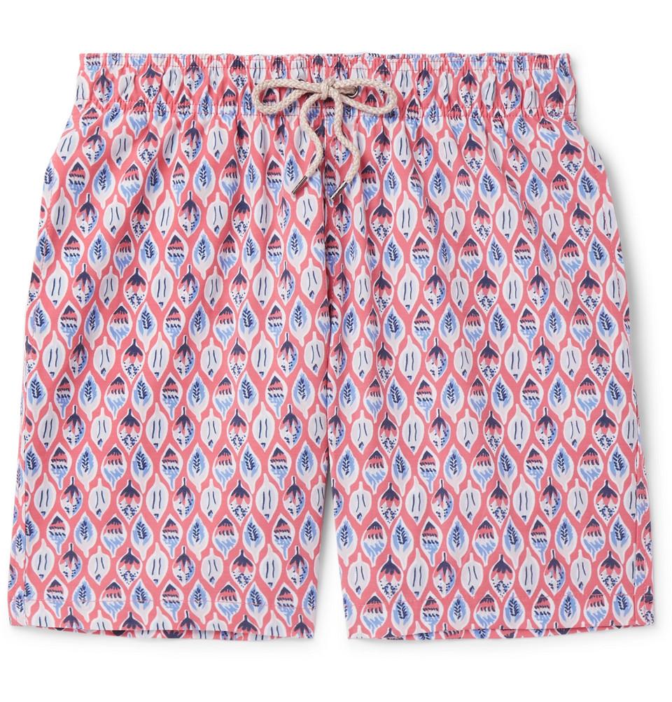 Beacon Long-length Printed Swim Shorts - Red