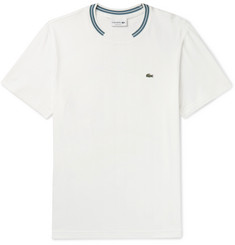 Lacoste Stripe-Trimmed Pima Cotton-Jersey T-Shirt