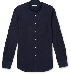 Boglioli Slim-Fit Grandad-Collar Linen and Cotton-Blend Chambray Shirt