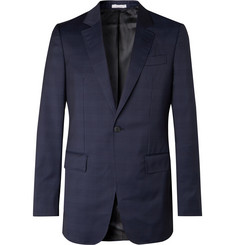 Gabriela Hearst Navy Kipling Slim-Fit Checked Wool Suit Jacket