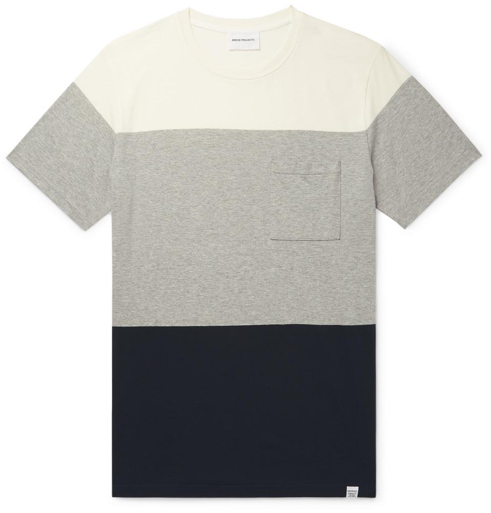 Niels Colour-block Cotton-jersey T-shirt - Gray