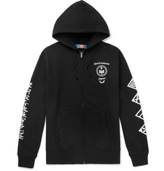 Blackmeans Printed Loopback Cotton-Jersey Zip-Up Hoodie