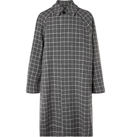 Oversized Checked Virgin Wool Tweed Coat by Balenciaga