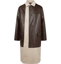 Balenciaga Layered Cotton-Gabardine and Leather Coat