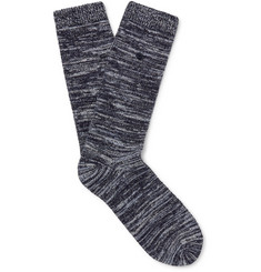 Folk Leather-Trimmed Mélange Stretch Cotton-Blend Socks