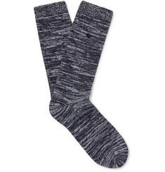 Leather-trimmed Mélange Stretch Cotton-blend Socks - Blue