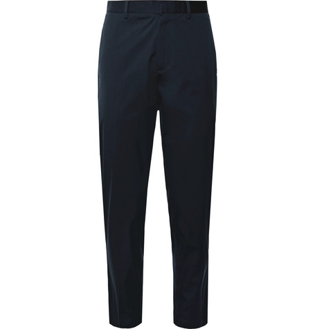 Navy Curtis Tapered Cropped Stretch Cotton Blend Trousers by Theory