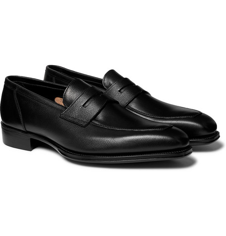 + George Cleverley Newport Full-grain Leather Penny Loafers - Black
