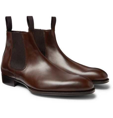+ George Cleverley Leather Chelsea Boots - Brown