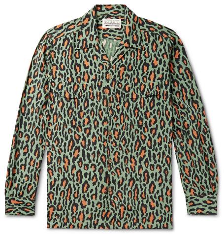 Camp Collar Leopard Print Cotton Shirt by Wacko Maria