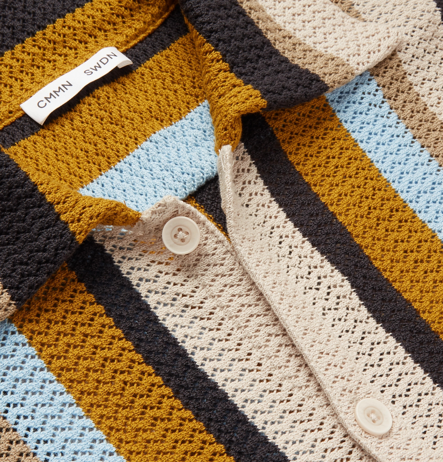 6efe4a51e1 CMMN SWDN - Wes Striped Knitted Cotton Shirt