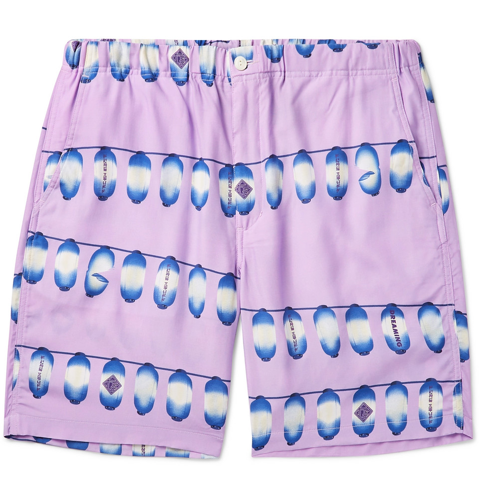 Printed Poplin Shorts - Purple