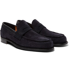Cheaney - Dover D Perforated Suede Penny Loafers