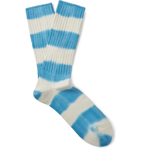 Ribbed Striped Cotton Blend Socks by Mr P.