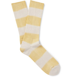 Mr P. - Ribbed Striped Cotton-Blend Socks