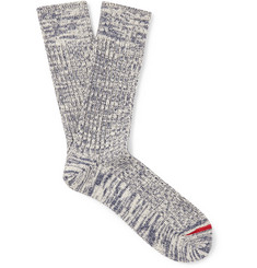 Mr P. - Ribbed Mélange Cotton-Blend Socks
