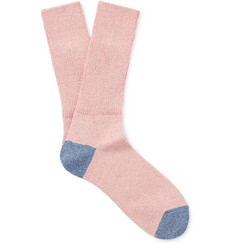 Mr P. - Two-Tone Mélange Cotton-Blend Socks