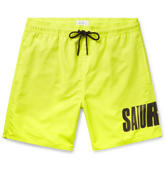 Saturdays NYC Wide-Leg Long-Length Logo-Print Swim Shorts
