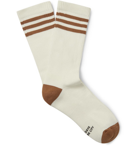 Saturdays Surf Nyc Accessories STRIPED RIBBED STRETCH COTTON-BLEND SOCKS - OFF-WHITE - ONE SIZ