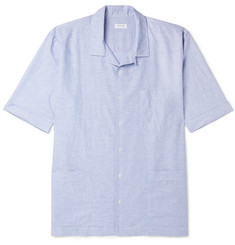 Sunspel Cortina Camp-Collar Striped Linen and Cotton-Blend Shirt