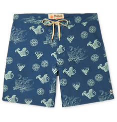 Mollusk - Wide-Leg Long-Length Printed Cotton-Blend Swim Shorts