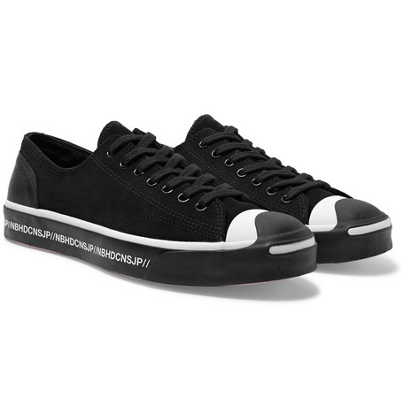 Converse + Neighborhood Jack Purcell OX Leather-Trimmed Suede Sneakers