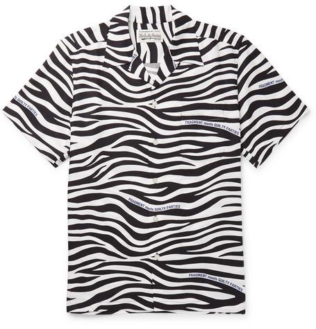 WACKO MARIA | Wacko Maria - + Fragment Camp-Collar Zebra-Print Lyocell Shirt - Black | Goxip