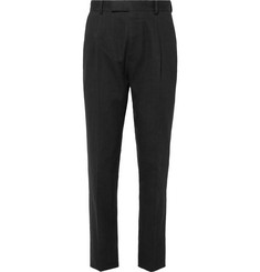 Wacko Maria - Black Tapered Pleated Herringbone Linen Suit Trousers