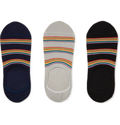 Paul Smith - Three-Pack Striped Mercerised Stretch Cotton-Blend No-Show Socks