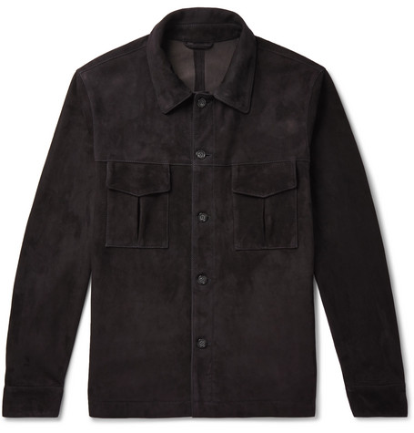 Slim Fit Unlined Suede Shirt Jacket by Valstar