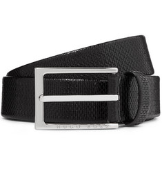 Hugo Boss 3cm Black Ceddy Textured-Leather Belt