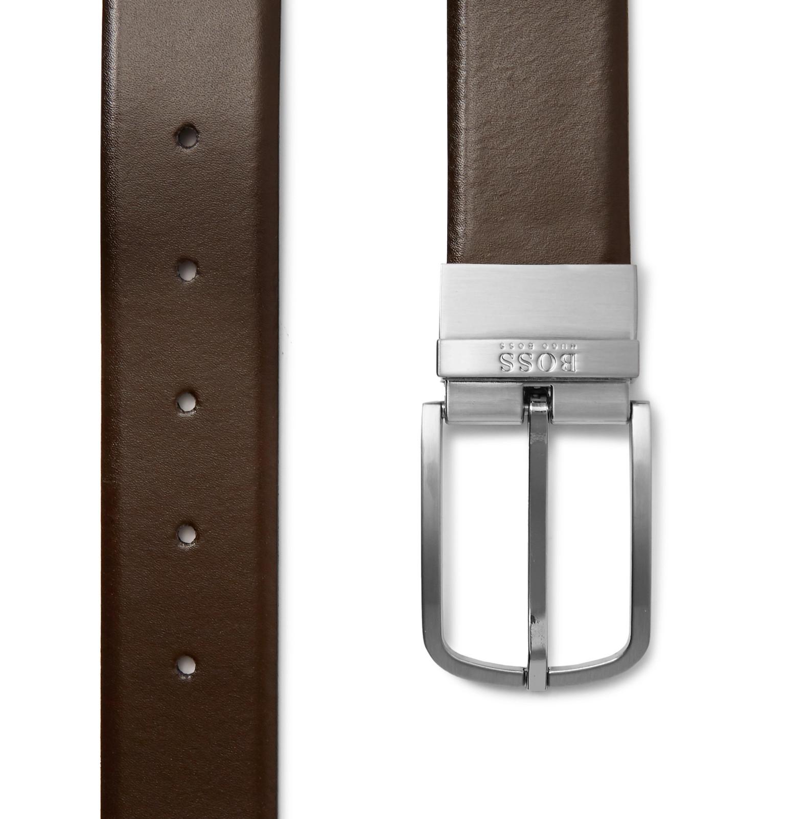 50ae0d9b47 Hugo Boss - 4cm Black and Brown Owen-B Reversible Leather Belt