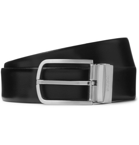 Hugo Boss 4cm Black and Brown Owen-B Reversible Leather Belt