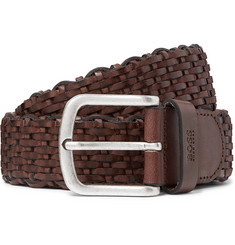 3.5cm Dark-brown Woven Leather Belt - Brown
