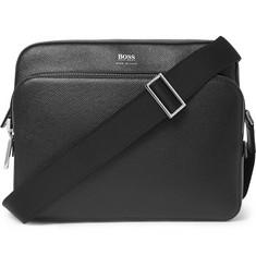 Cross-grain Leather Messenger Bag - Black