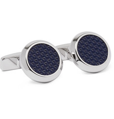 Hugo Boss Hank Silver-Tone and Engraved Enamel Cufflinks