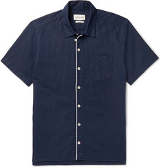 Oliver Spencer Linton Piped Linen and Cotton-Blend Shirt