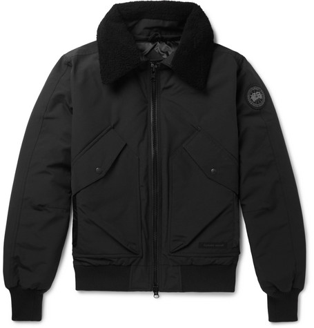 Canada Goose – Bromley Shearling-trimmed Shell Down Bomber Jacket – Black