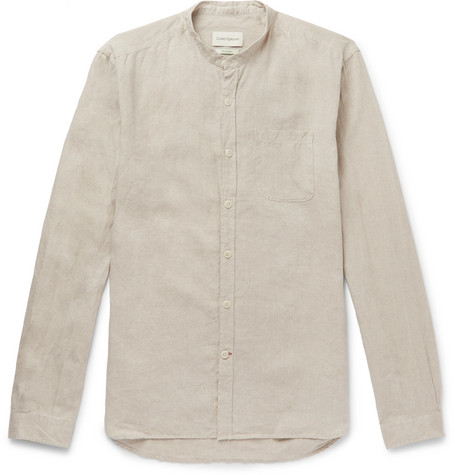 Grandad Collar Linen Shirt by Oliver Spencer